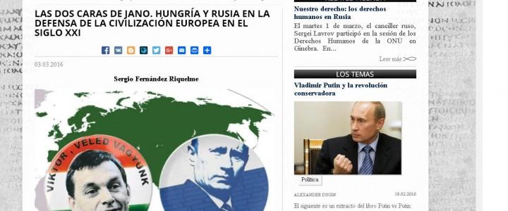 Artículo sobre la relación entre Hungría y Rusia en Katehon